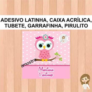 Adesivo Caixa Acrilica Corujinha - kit 1