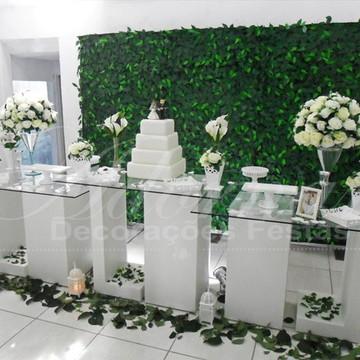 Aluguel Decoração Casamento Mesa de Vidro Branco Mesa Bolo