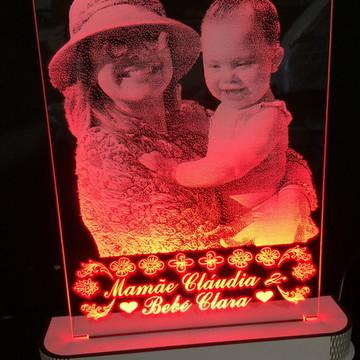 Luminária Sua Foto Mãe e Filha Iluminada em Led, Seu Bebê
