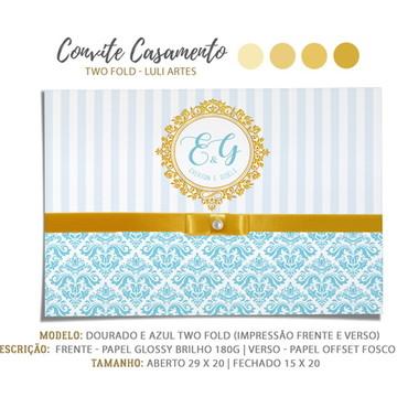 Convite Casamento Azul e Dourado - Arte Digital