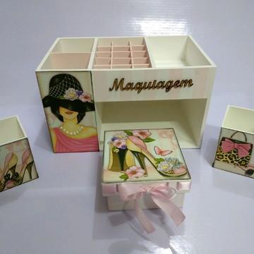 "Organizador de maquiagem ""FEMININO"" kit"