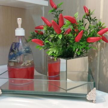 Bandeja decorativa em vidro com espelho