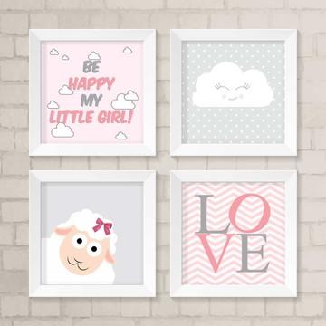 Kit Quadros Infantil - Be Happy my Little Girl