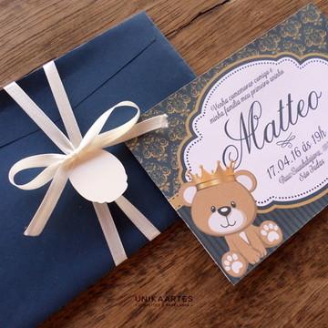 Arte Convite Infantil Ursinho