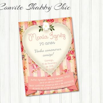 Convite Shabby Chic Rosa