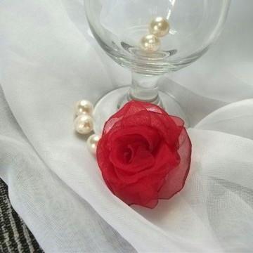 Flor de Tecido Voil 7cm - Flor Vermelha