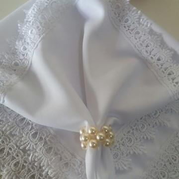 Guardanapo em tecido algodao com guipir