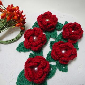 Aplique Flor Crochê Vermelha
