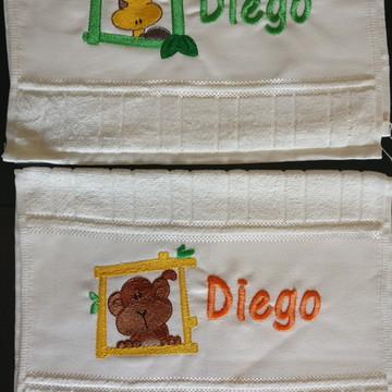 Kit toalha escolar lavabo mão infantil 2 toalhas