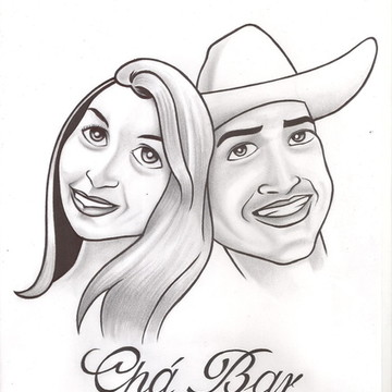 Desenho e Caricatura de noivos para casamento