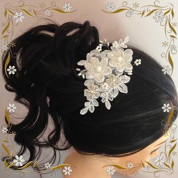Aplique de Renda Bordado para Penteado Amor Perfeito/Noivas