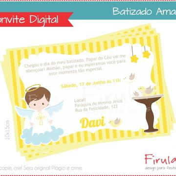 Convite Digital Batizado Amarelo