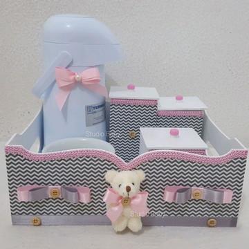 Kit Higiene Bebê Chevron Com Garrafa