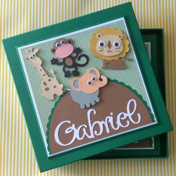 diário bebe personalizado para menino safári verde scrapbook