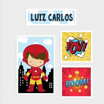 Kit de quadros de herói para quarto infantil