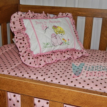 Edredom para berço bebê menina rosa bolinhas marrom 2pç