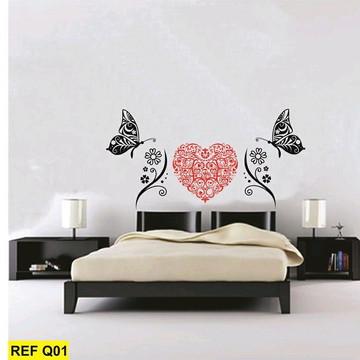 Adesivo parede coração borboleta90x135cm