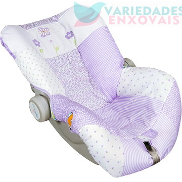 Capa Bebê Conforto Lilás Patchwork + Capa Carrinho Borboleta
