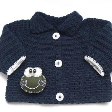 Casaco crochê de lã sapinho fofo