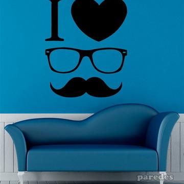 Adesivo para parede eu amo óculos e bigode