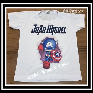 Camiseta Infantil tema Capitão América