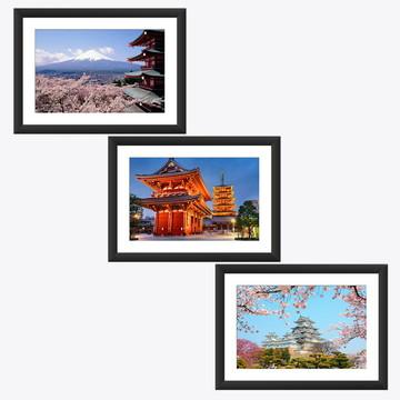 Kit 3 Quadros Japao Monte Fuji Cerejeira Castelos Tokio Asia