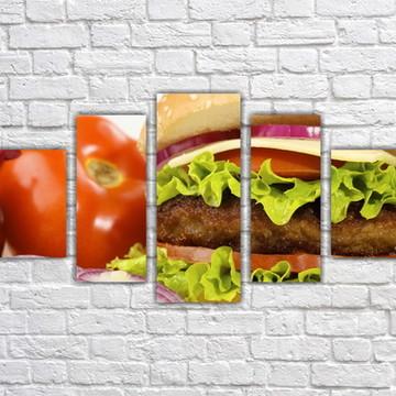 Quadro Decorativo Hambúrguer Lanche Mosaico 5 Pçs 01