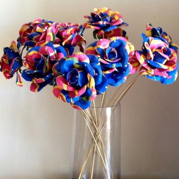 flor de chita rosas decoração aniversário brinde