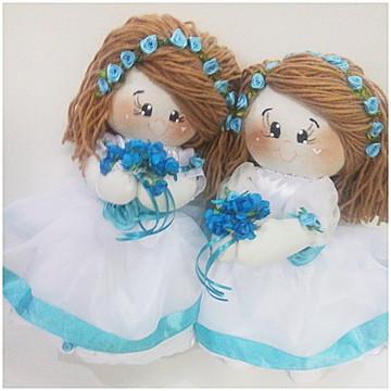 Kit bonecas floristas daminhas azul tiffany
