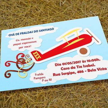 Convite Personalizado Chá de Fraldas - Aviãozinho