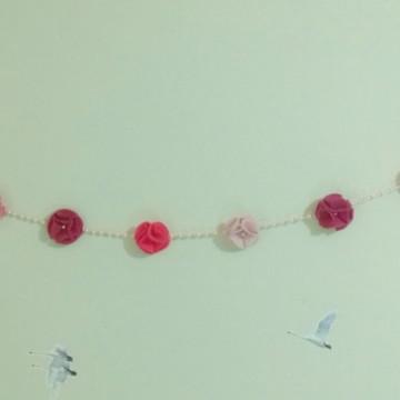 Varal de Berço em feltro Flores - Enfeite - Decoração