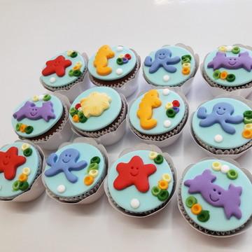Mini cupcake Fundo do Mar