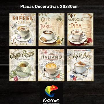 Placas Café Decoração Cozinha Coffee