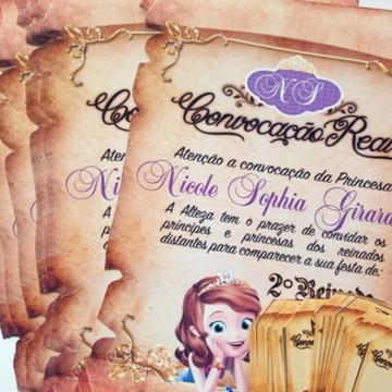 Convite pergaminho princesa sophia