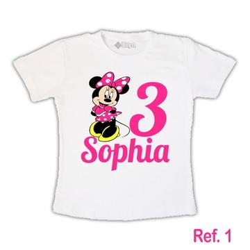 Camiseta Minnie Rosa Pink Personalizada