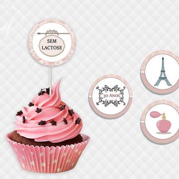 Toppers para cupcake/docinho tema Paris