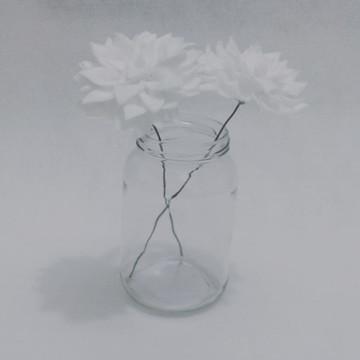 Flores de Feltro - Dálias Brancas