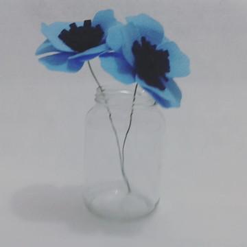 Flores de Feltro - Anêmonas Azuis