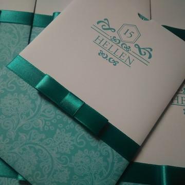 Convite para 15 Anos azul tiffany