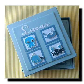 Livro do bebê personalizado menino fundo do mar com caixa