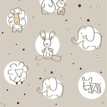 Papel de parede quarto de bebe animais marrom e branco