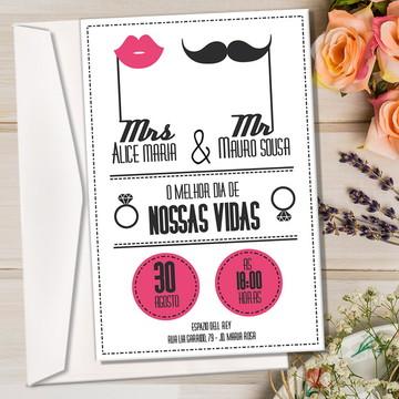 Convite + Envelope - Mrs e Mr