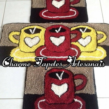 Xícaras tapetes para cozinha decoração em frufru