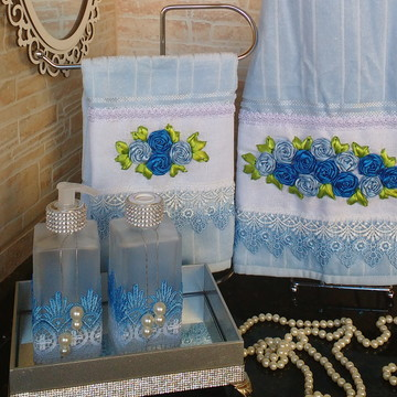 Conjunto de toalha de Rosto e Lavabo