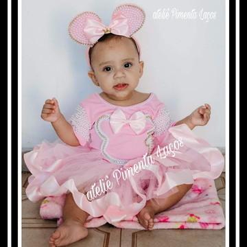 Conjunto Infantil tema Minnie Rosa