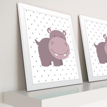 Decoração de quarto de bebê - Quadro de hipopótamo