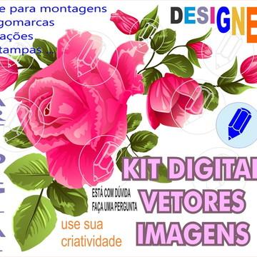 kit digital rosas flores florais scrapbook vetor e imagens