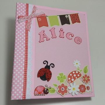 Álbum livro do Bebê personalizado 50 fotos menina joaninha