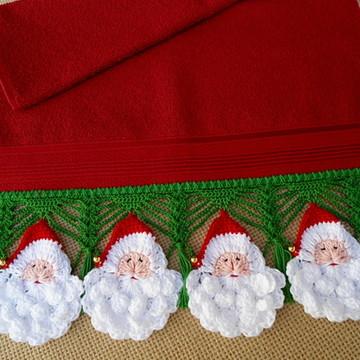 Toalha de Lavabo Papai Noel de Crochê