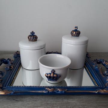 Kit Higiene com Potes Porcelana Coroa